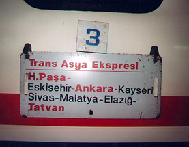Trans-Asia Express Istanbul to Tehran: train destination plate (Photo:  Arjan Veersma)