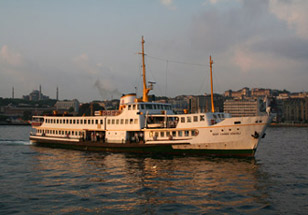 The ferry across the Bosphorus to Istanbul's Haydarpasa station.