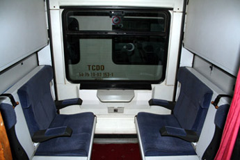 Couchette compartment aboard the Istanbul to Tehran train
