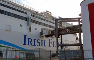 The super-ferry 'Ulysses' at Dublin Ferryport, boarding passengers for London...