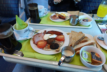 Cooked breakfast on a Dublin to Cork train