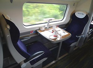 A first class table for two on a Virgin Trains Pendolino to Holyhead
