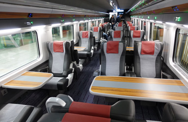First class seats on the Dublin to Belfast train