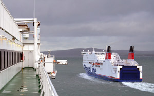 The competition!  Stena Line's 'Stena Adventurer' seen from the deck of Irish Ferries' 'Ulysses'