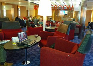 Relaxing in the StenaPlus lounge on board the ferry 'Stena Europe' from Fishguard to Rosslare