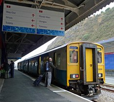 The local train from Cardiff to Fishguard, arrived at Fishguard Harbour