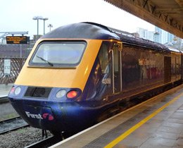 A high-speed train at Cardiff