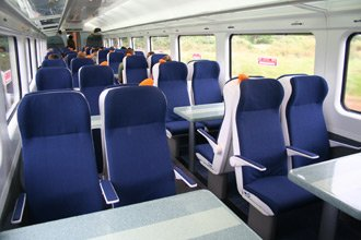 Standard class seating in the new intercity railcars