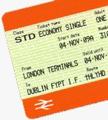 Train & ferry ticket from London to Dublin