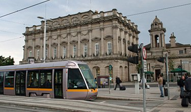 Heuston station, Dublin, showing LUAS tram