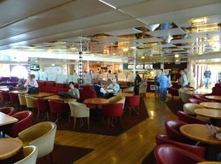 The main lounge on the ferry 'Ben My Chree' to the Isle of Man