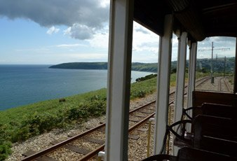 The Manx Electric Railway runs along the coast