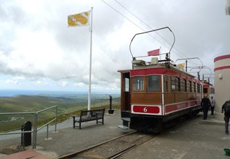 Snaefell Mountain Railway tram No.6 at Snaefell summit