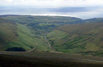 The view from Snaefell summit, looking towards Laxey