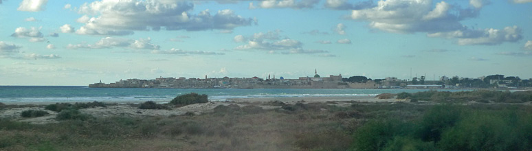 The view of the old city on the sea as the train approaches Akko