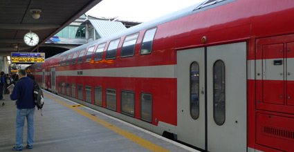 Red double-deck train