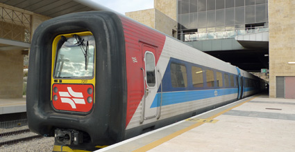 An IC3 train from Tel Aviv arrived at Jerusalem Malha