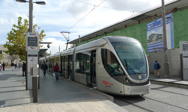 Jersualem Light Rail - with new fast train station in the background