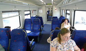 Seats on an Israeli single-deck train