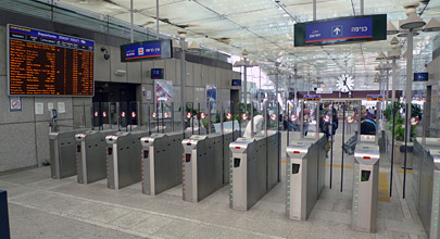 Ticket gates to platforms at Tel Aviv HaShalom station