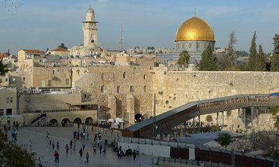 The western wall & dome of the rock in Jerusalem