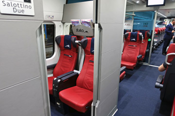 Club class seating on an Italo EVO train.