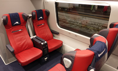 Club class seats on an Italo EVO train.