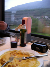 Lunch in the restaurant car en route to Italy by train