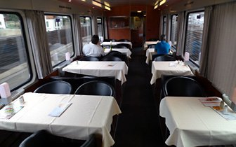 Austrian restaurant car on a EuroCity train