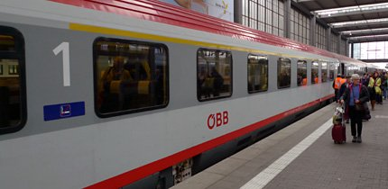 EuroCity train about to leave Munich
