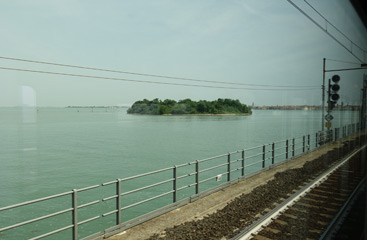 Going over the causeway on the train to Venice