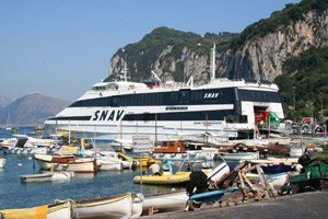 The SNAV fast ferry from Naples, just arrived at Capri's Grande Marina