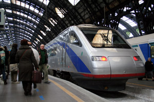 A tilting 'Pendolino' train just arrived from Zurich in Milan Centrale