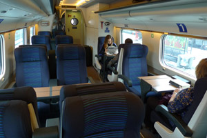 First class seats on the EuroCity ETR480 train to Milan