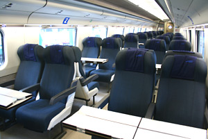 Second class seats on the EuroCity ETR470 train to Milan