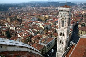 Take the train from London to Italy.  The view from the top of the Duomo in Florence....