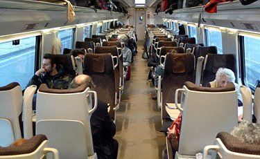 2nd class seats on a Trenitalia 'Frecciargento' ETR600
