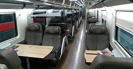 Business class seats on a Frecciarossa