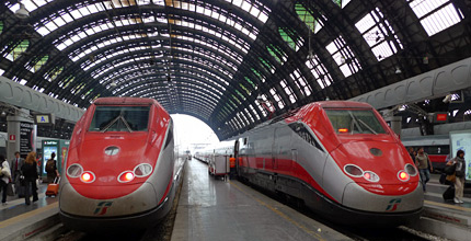 Two ETR500 Frecciarossa trains at Milan Centrale