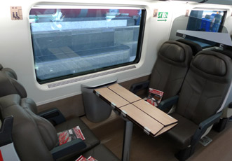 Typical table for four on a Frecciarossa, Premium Class
