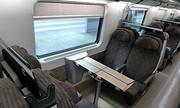Typical table with 4 seats on a Frecciarossa