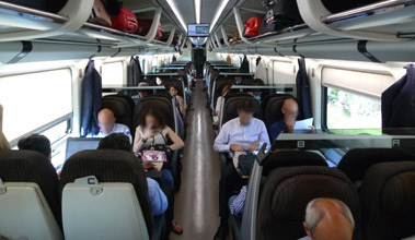 Standard class seats on a Frecciarossa from Rome to Florence & Milan