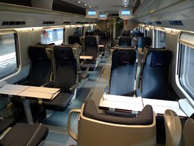 2nd class seats on an ETR610 EuroCity train to Italy