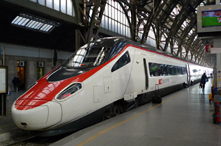ETR610 EuroCity train from Switzerland at Milan Centrale