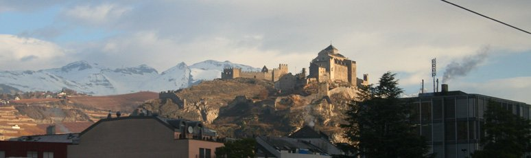 Sion castle, see from the train to Venice