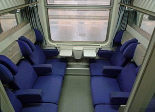 6-seat compartment 2nd class on an InterCity train