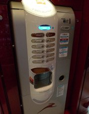 Coffee vending machine in Smart class, car 7