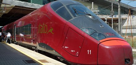 One of NTV's new Italo trains at Rome Tiburtina