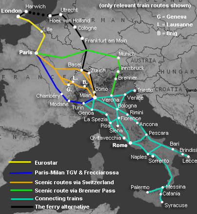 Route map, UK to Italy by train