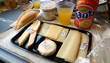 Food on the Paris-Milan TGV train:  Cheese platter